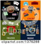 Clipart Of Flat Casino Cinema Theater And Music Designs Royalty Free Vector Illustration