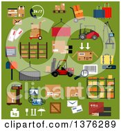 Clipart Of Flat Design Logistics Icons Of Cardboard Packages Containers Cargo Crane Forklift Trucks And Hand Trucks With Boxes And Suitcases Warehouse Shelf 247 Service Scale Parcels Letters Postage Stamps Bar Code And Mail Box Royalty Free