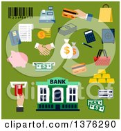 Clipart Of A Flat Design Dollar Bills And Coins Credit Card Money Bags And Handshake Calculator Shopping Basket Paper Bag Piggy Bank Safe Bank Building Gold Bars Bar Code Cash Register And Atm Slot On Green Royalty Free Vector Illustration