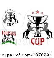 Clipart Of Horses And Trophy Cups With Text Royalty Free Vector Illustration