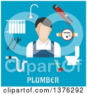 Poster, Art Print Of Radiator Of Heating System Water Faucet And Water Meter Toilet Adjustable Wrench Pipes System With Leak Spanners Plunger And Plumber Man On Blue