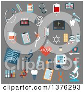 Clipart Of Flat Design Medical Diagnostics Testing Equipment And Treatment Flat Icons With Stethoscopes Microscopes Thermometers Medication Pills Syringe Blood Test Tubes And Bags X Ray Ecg Blood Pressure Hearing And Breast Testing Dna Royal