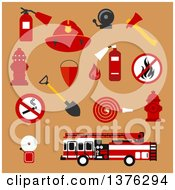 Clipart Of Flat Fire Department Designs On Tan Royalty Free Vector Illustration by Vector Tradition SM