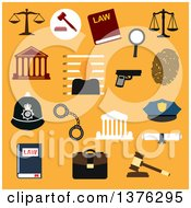 Clipart Of Flat Design Law Justice And Police Flat Icons On Orange Royalty Free Vector Illustration