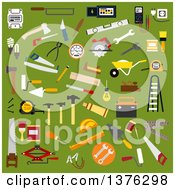 Clipart Of Flat Design Builder Electrician Mechanic Painter Carpenter Shoemaker And Bricklayer Tools And Equipment On Green Royalty Free Vector Illustration