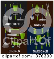 Clipart Of Flat Agriculture Garden Chorse And Gardener Designs Royalty Free Vector Illustration by Vector Tradition SM