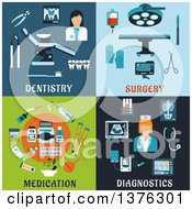 Clipart Of Flat Dentistry Surgery Medication And Diagnostics Designs Royalty Free Vector Illustration