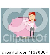Clipart Of A Flat Design White Business Woman Taping Up A Broken Piggy Bank On Blue Royalty Free Vector Illustration