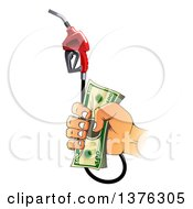 Clipart Of A Caucasian Hand Holding Cash Money And A Fuel Nozzle Royalty Free Vector Illustration by Vector Tradition SM