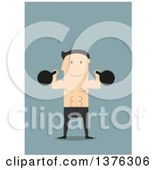 Clipart Of A Flat Design White Man Working Out With Kettlebells On Blue Royalty Free Vector Illustration by Vector Tradition SM