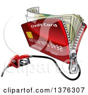 Clipart Of A Credit Card Wallet With Cash Money And A Fuel Nozzle Royalty Free Vector Illustration