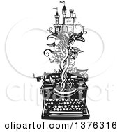 Clipart Of A Black And White Woodcut Fairy Tale Castle On A Vine Emerging From A Typewriter Royalty Free Vector Illustration