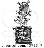 Clipart Of A Black And White Woodcut Death Skull With Flowers And A Cross On A Vine Emerging From A Typewriter Royalty Free Vector Illustration