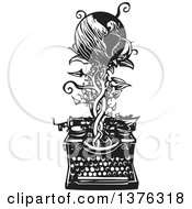 Clipart Of A Black And White Woodcut Typewriter With A Vine And Earth Emerging From It Royalty Free Vector Illustration