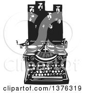 Clipart Of A Black And White Woodcut Typewriter With Muslims In Hijab Above Royalty Free Vector Illustration