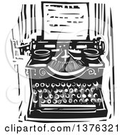 Clipart Of A Black And White Woodcut Typewriter And Letter Royalty Free Vector Illustration