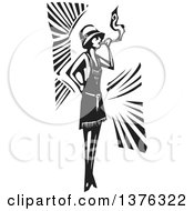 Clipart Of A Black And White Woodcut Flapper Girl Smoking A Cigarette Royalty Free Vector Illustration