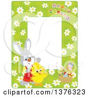 Poster, Art Print Of Vertical Border Of Happy Easter Text A Rabbit Chick And Basket Of Eggs Over Daisies On Green