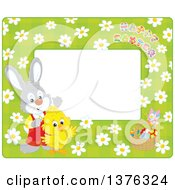Poster, Art Print Of Horizontal Border Of Happy Easter Text A Rabbit Chick And Basket Of Eggs Over Daisies On Green