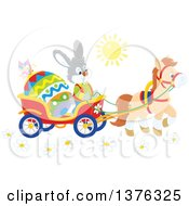Clipart Of A Bunny Rabbit Transporting An Easter Egg In A Horse Drawn Cart On A Sunny Day Royalty Free Vector Illustration by Alex Bannykh