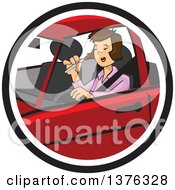 Clipart Of A Distracted Womman Applying Makeup And Driving Royalty Free Vector Illustration