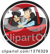 Clipart Of A Distracted Man Driving And Texting On His Cell Phone Royalty Free Vector Illustration by David Rey