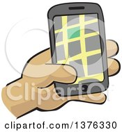 Clipart Of A Hand Holding A Gps Device Royalty Free Vector Illustration