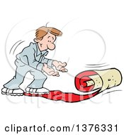 Clipart Of A Caucasian Man Rolling Out The VIP Red Carpet Royalty Free Vector Illustration
