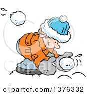 Clipart Of A Happy Caucasian Boy Bending Over To Make A Snowball As One Flies At Him From Behind Royalty Free Vector Illustration