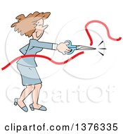 Cartoon Clipart Of A Brunette Caucasian Business Woman Doing The Honors Of Cutting The Ribbon At A New Business Opening Ceremony Royalty Free Vector Illustration