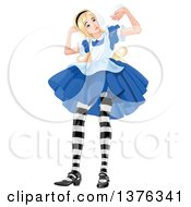 Giant Alice In Wonderland Pushing Up Against A Ceiling
