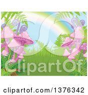 Clipart Of A Nature Background Of Ferns Mushrooms And A Rainbow Royalty Free Vector Illustration