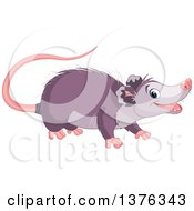 Clipart Of A Cute Happy Opossum Smiling Royalty Free Vector Illustration