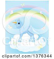 Cute Blue Unicorn Horse On A Cloud Surrounded By Butterflies Under A Rainbow