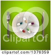 Clipart Of A 3d Plate With Diet Pills And Silverware On A Green Background Royalty Free Illustration