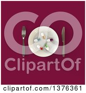 Clipart Of A 3d Plate With Diet Pills And Silverware On A Magenta Background Royalty Free Illustration by Julos
