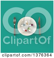 Clipart Of A 3d Plate With Diet Pills And Silverware On A Turquoise Background Royalty Free Illustration by Julos