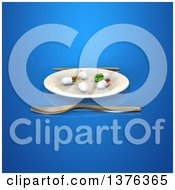 Clipart Of A 3d Plate With Diet Pills And Silverware On A Blue Background Royalty Free Illustration