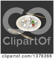 Clipart Of A 3d Plate With Diet Pills And Silverware On A Gray Background Royalty Free Illustration