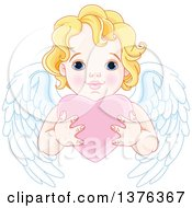 Clipart Of A Cute Blond Haired Blue Eyed Caucasian Valentines Day Cupid With Wings Holding A Heart Royalty Free Vector Illustration by Pushkin
