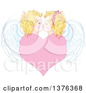 Clipart Of A Cute Blond Haired Blue Eyed Caucasian Valentines Day Cupid Couple Kissing With Wings Over A Heart Royalty Free Vector Illustration by Pushkin