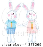 Clipart Of A Cute White Bunny Rabbit Couple Wearing Carrot Clothes Royalty Free Vector Illustration