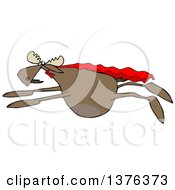 Clipart Of A Cartoon Super Hero Moose Flying With A Cape Royalty Free Vector Illustration
