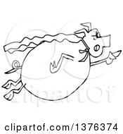 Clipart Of A Cartoon Black And White Chubby Pig Super Hero Flying Royalty Free Vector Illustration
