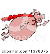 Clipart Of A Cartoon Chubby Pig Super Hero Flying Royalty Free Vector Illustration by djart