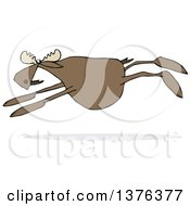 Clipart Of A Cartoon Moose Leaping Royalty Free Vector Illustration
