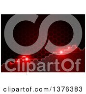 Clipart Of A Background Of Light Flares And Current On A Red Honeycomb Texture Royalty Free Vector Illustration
