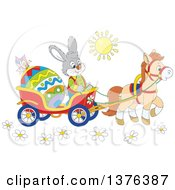 Clipart Of A Gray Bunny Rabbit Transporting An Easter Egg In A Horse Drawn Cart On A Sunny Day Royalty Free Vector Illustration by Alex Bannykh