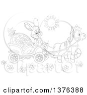 Clipart Of A Black And White Bunny Rabbit Transporting An Easter Egg In A Horse Drawn Cart On A Sunny Day Royalty Free Vector Illustration by Alex Bannykh