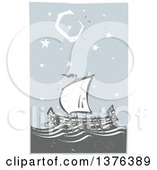 Clipart Of A Woodcut Ancient Greek Galley Ship At Night Royalty Free Vector Illustration